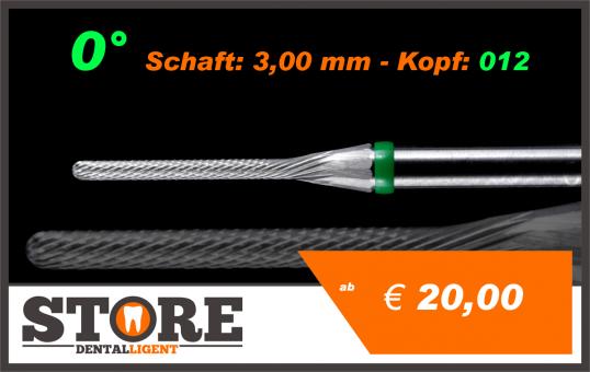 #10 - 0° - Feinfräser - 3,00 mm Schaft - 0,12 Kopf - grün/mittel