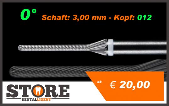 #12 - 0° - Feinfräser - 3,00 mm Schaft - 0,12 Kopf - weiss/fein