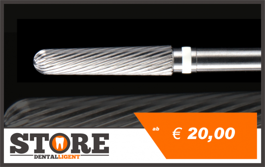 #06 - 1° - Cone milling cutter according to Michael Anger -white-  2,35 mm shank - white - head 0,29