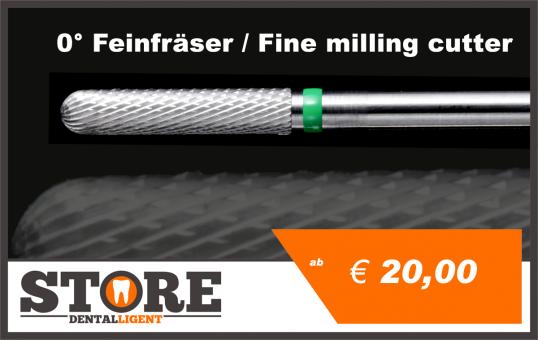 #02 - 0° - Feinfräser - 2,35 mm Schaft - 0,25 Kopf  - grün/mittel