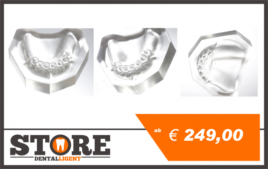 Upper-Jaw-Model of clear or pink acrylic, dental status 14-23 for crowns, telescopes or model casting.