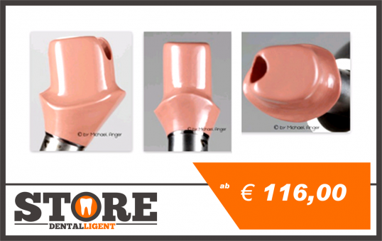 Pink PEEK abutment with 0 ° -angled milling, included adhesive, base material and processing.