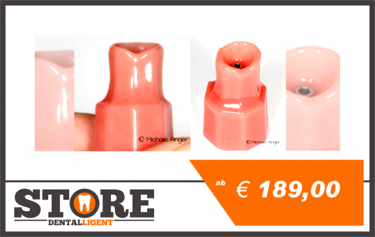 Pink Single stump model with implant or implant model for presentations and friction tests.