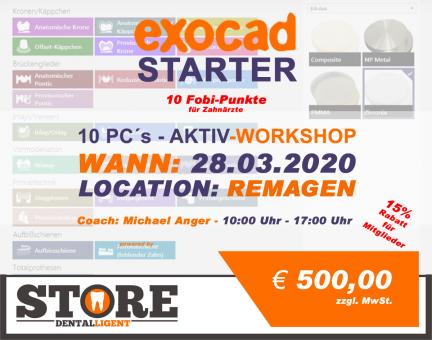 """28.03.2020 - EXOCAD - STARTER - """"AKTIV WORKSHOP"""" mit 10 PC´s - in Remagen"""