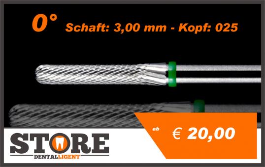 #08 - 0° - Feinfräser - 3,00 mm Schaft - 0,25 Kopf - grün/mittel