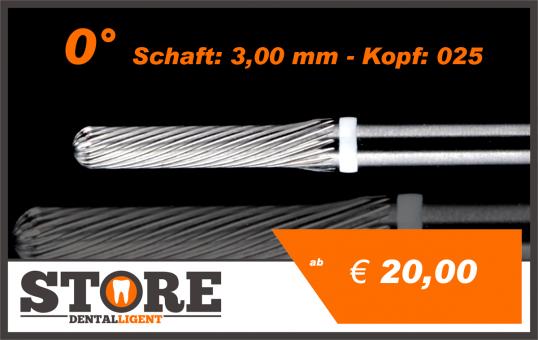 #07 - 0° - Feinfräser - 3,00 mm Schaft - 0,25 Kopf - weiss/fein