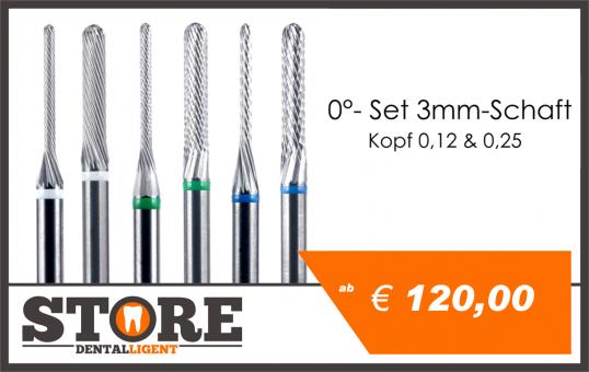 0° - Fine milling cutter SET- 3,00 shank - Head 012 & 025