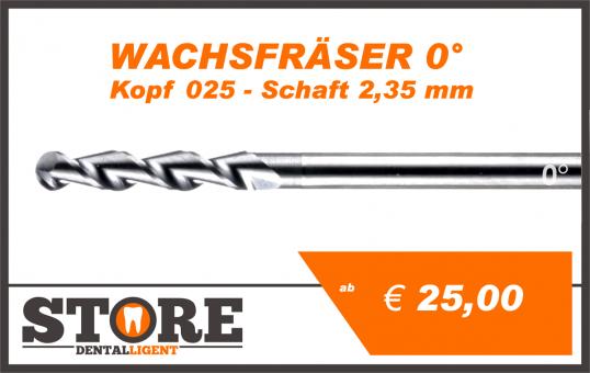 0° - Wachsfräser- Kopf 025- Schaft 2,35 mm